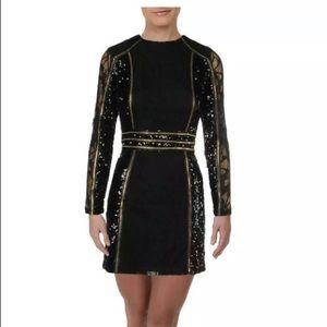 BEBE Sequined LongSleeve Cocktail Dress black/gold
